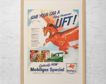 VINTAGE CLASSIC CAR Ad - Retro Car Ad - Mobilgas Classic Car Ad Mid-Century Poster Garage Mechanic Shop Vintage Car Poster Pegasus Poster