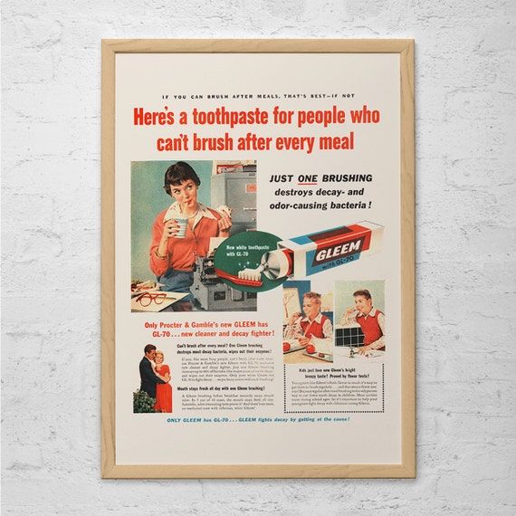 COOL BATHROOM POSTER Vintage Bathroom Ad Gleem Toothpaste