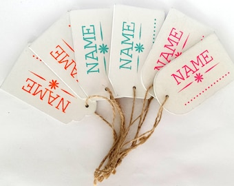 6 white wooden name tags