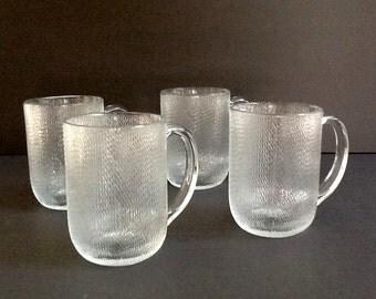 Arcoroc Glass Mugs, Set of 4, Basketweave Pattern, Coffee or Tea Mugs