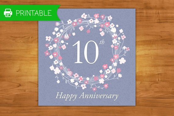 Free printable 10th wedding anniversary cards 28 images free m4hsunfo
