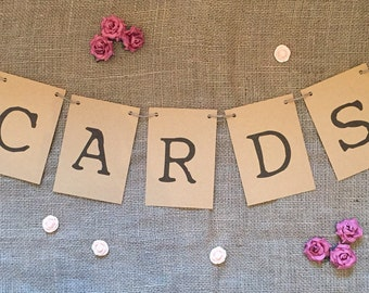 Rustic 'cards' bunting sign for wedding
