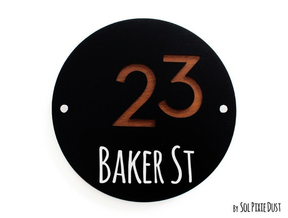 Modern house numbers round black with marine plywood for Modern house numbers canada