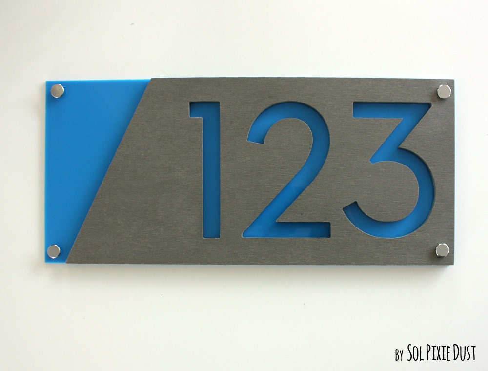 Modern house numbers concrete with blue acrylic for Modern house numbers canada