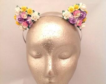 Flower Ear Headband, Multi coloured ears, Floral Ear Headband, Cat Ears, Kitty Ears, Hen Party, Bridesmaids, Festival, Coachella, Ears