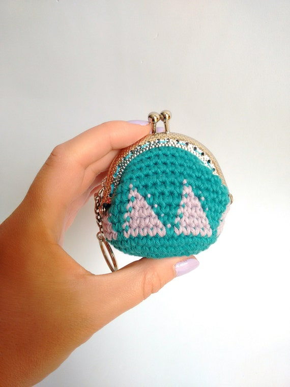 Handmade crochet mini coin purse keychain with silver color nozzle and ...