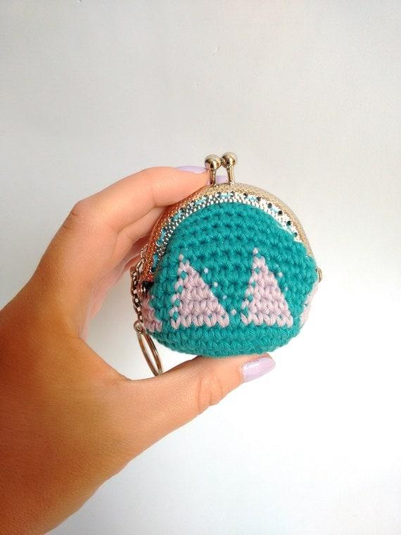 Crochet Mini Purse : Handmade crochet mini coin purse keychain with silver color nozzle and ...