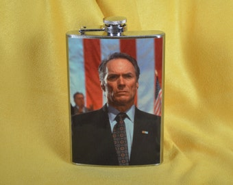 Clint Eastwood from In the Line of Fire - 8 oz stainless steel flask (RN 1808)