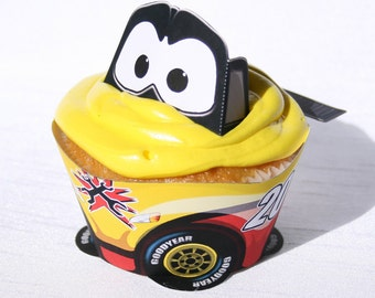 Yellow Racecar Cupcake Wrapper (Instant Download)