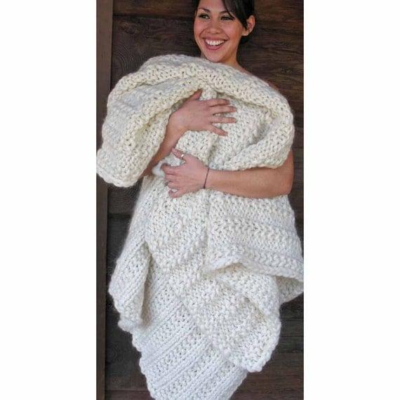 Merino Cape Knitting Pattern : Chunky Blanket KNITTING KIT Super Bulky Thick Yarn Merino Wool Silk. #19 Circ...