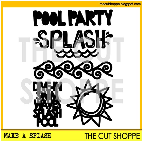 The Make a Splash cut file includes 5 pool themed icons, that can be used on your scrapbooking and papercrafting projects.