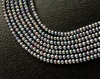 """Full 16""""Strand Light Peacock Button Freshwater Pearls – 6mm x 4mm"""