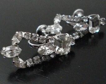 Endless Clear Rhinestone Earrings Vintage