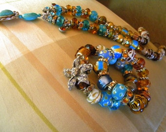 Bling'd Stretch Bracelets in Earth and Sky Colors