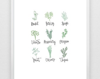 Handdrawn Kitchen Herb Print for Nature Lovers and Food Lovers - Digital Download Printable Art
