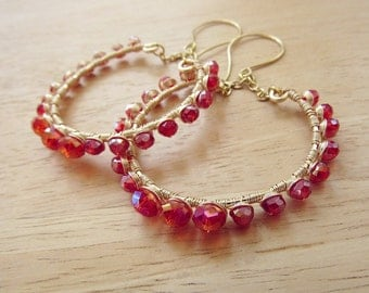 wire wrapped hoops in pomegranate