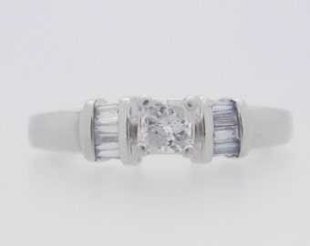 0.50 Carat T.W. Princess & Baguette Cut Diamond Certified Engagement Ring