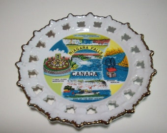 Niagara Falls Canada tourist plate/ Vintage Niagara Falls popular attractions/ retro wall decor/ collectible plate 1950s 1960s