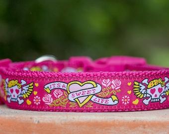 Australian made Pink Tattoo Dog Collar
