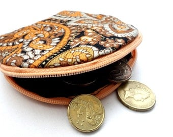 Round Tribal Patterned Zipper Coin Purse