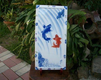 1980s Japanese Showa Period Arita Yaki Porcelain Two Koi Fish Decorative Tablet With Original Box And Wooden Stand