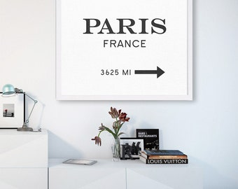 Paris France Art Print Paris Artwork Typography Poster Marfa Fashion Art Black and White Wall Hanging Sign Art Print