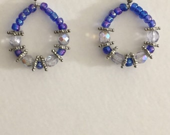 Blue and crystal beaded earrings