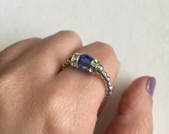 Blue and silver beaded ring