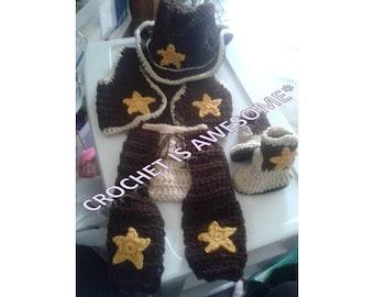 Crochet baby cowboy set. baby boots. baby western wear . baby crochet outfit. baby cowboy hat