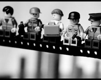 Lunch atop a Skyscraper Spoof Lego men TSHIRT t-shirt