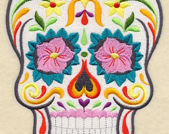Sugar Skull towel, Flor Bonita Sugar Skull, sugar skull embroidered towel, skull towel, Day of the Dead,