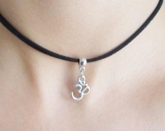 choker necklace om choker zen jewellery spiritual gift choker with charm spiritual jewellery ohm choker gift for her om necklace