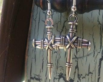 Antique Tibetan Silver 3D Nail Cross - Sterling Silver