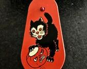 Vintage Halloween Noisemaker, Ratchet Noise Maker, Black Cat, Scary Jack O' Lantern, T Cohn Co, USA, Metal Lithographed Toy, Circa 1950s