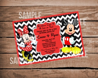 Mickey & Minnie Mouse Birthday Invitation for Twins