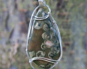 Earthy Rainforest Jasper Wire Wrapped Pendant, Sterling Sliver Wire Wrapped Stone Pendant, Stone Wire Wrap Pendant, Rhyolite Wire Wrap Stone