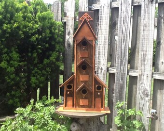 Handmade 5 Family Bird House made from reclaim board sanded and stained and sealed