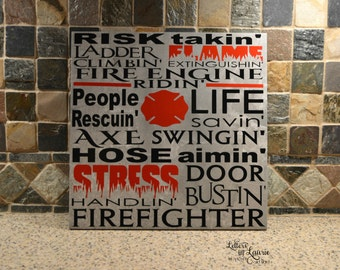 12x12 Fire Fighter Sign, Fire Fighter , Fire Fighter Subway style Sign