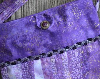 Purple and Gold Quilted Cross Body Bag, iPad Bag, Hipster Bag, Messenger Bag, Purse