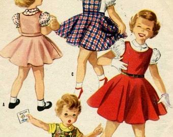 Vintage Girls Jumper Dress Sewing Pattern -  McCalls 3346   -  Size  6
