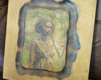 Vintage African Woman Decoupage on Wood