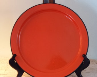 Vintage Enamelware Metal Plate - Orange