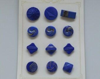 Vintage Bohemian Gablonz Art Deco Blue Glass Buttons