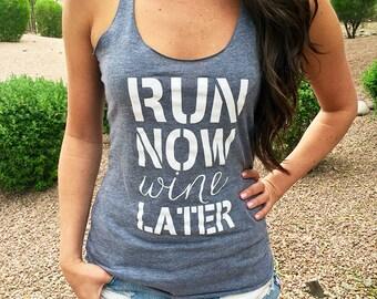 Workout Clothes. Workout Clothes For Women. Run-Now-Wine-Later. Running Shirt. Run Tank Top. Run Shirt. Gym Clothes. Gym Running Tank Top.