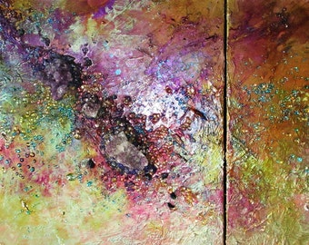 Abstract with Amethyst, mixed media, modern painting, glass wall art