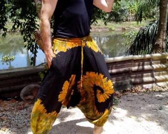 Mens Handmade Tie Dye Harem Pants. Baggy Pants. With Pockets. Black