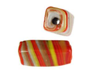 22X10 Swirl Glass Tube Beads-Red/Multi  (144pcs)
