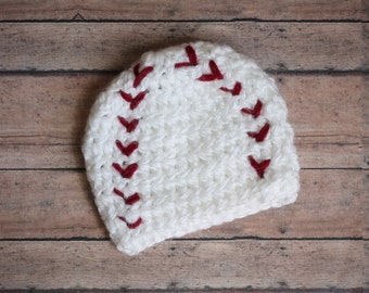 Baby Boy Crochet Baseball Hat Infant Newborn Photography Prop Spring Sports White Red
