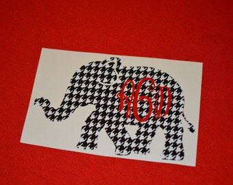 Free Shipping *** Monogrammed Alabama Crimson Tide Houndstooth Decal