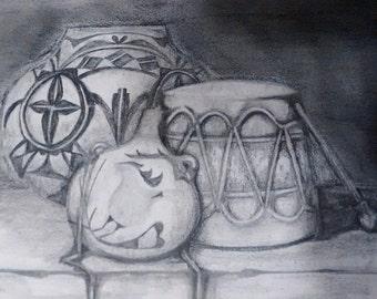 "original artwork, OOAK, graphite ""Native Drums"""